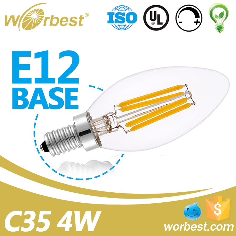 UL decorative LED Candelabra Lamp E12 4W 2700K 400 Lumen C35 Dimmable Candle LED Bulb 40W Equivalent LED Chandelier Bulb lights