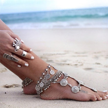 Personalized coin ankle chains belly dance coin antique anklet