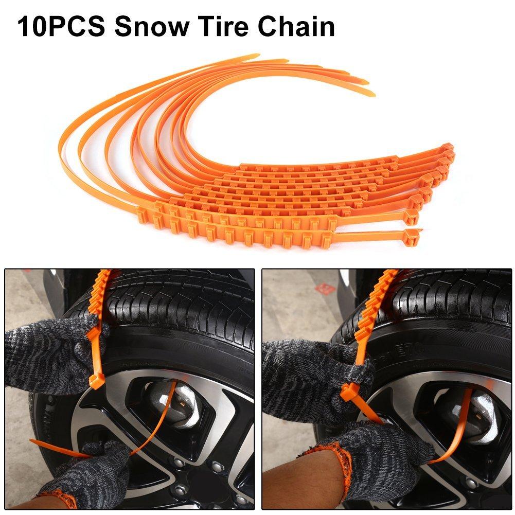 Car Tire Anti-Skid Chain, Molie Anti Snow Chains of Car, Snowy Muddy Ground Emergency Snow Tyre Chains Anti-slip Anti Snow Chains for Car 10PCS/ Pack