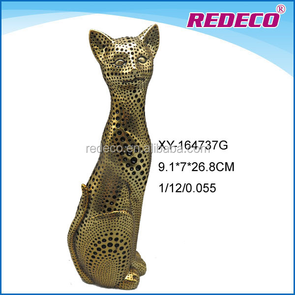 Customized resin eletroplated gold cat statue
