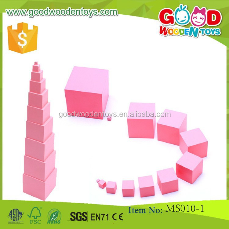 High Quality Wooden Montessori Small Pink Tower Toy