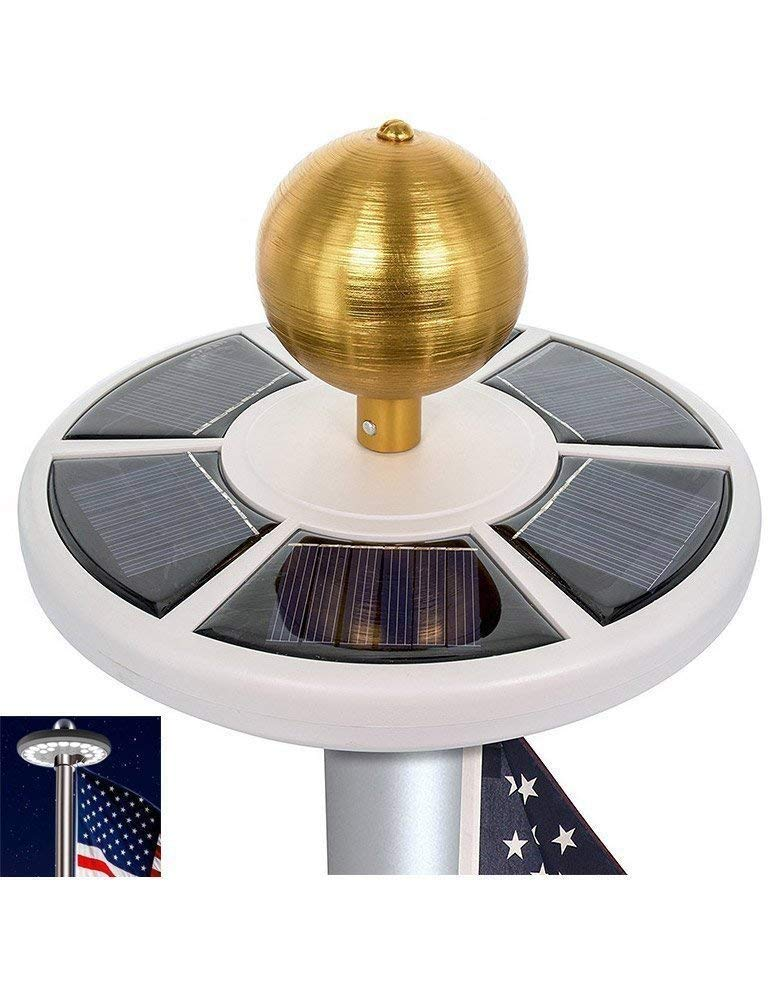 HiMo Solar Power Flag Pole Light With Flag 26 LED Downlights, Auto On/Off and Waterproof for Most 15 to 25 Ft Flag Pole Night Lighting Eco-Friendly Figurine Lights