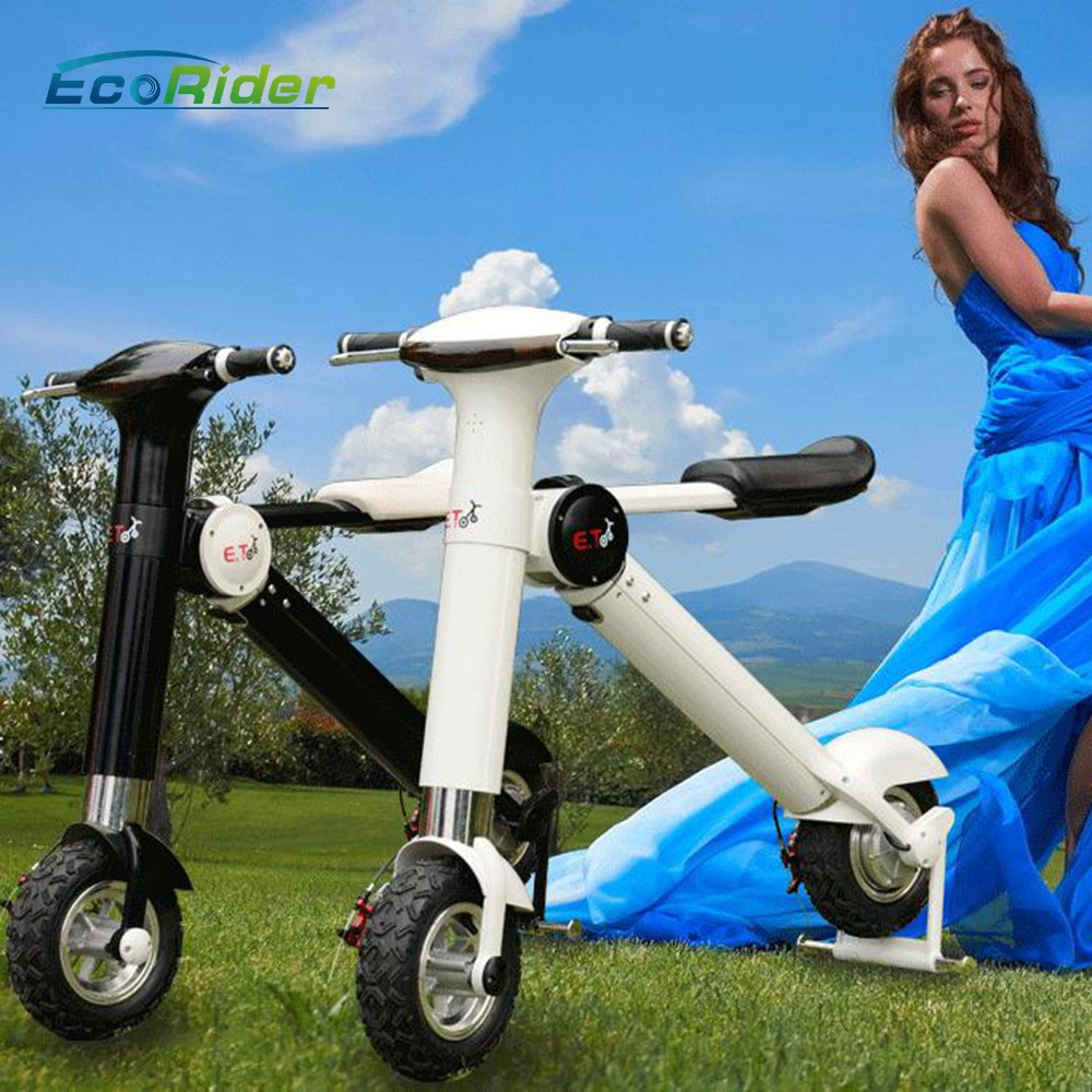 new products 2017 EcoRider lithium battery two wheel chainless folding 5000w electric bike