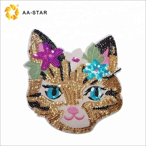 2018 fashion cat sequin patches custom embroidery for girls' garment
