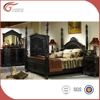 Luxury Clic Solid Wood Bedroom Furniture Set Black Antique