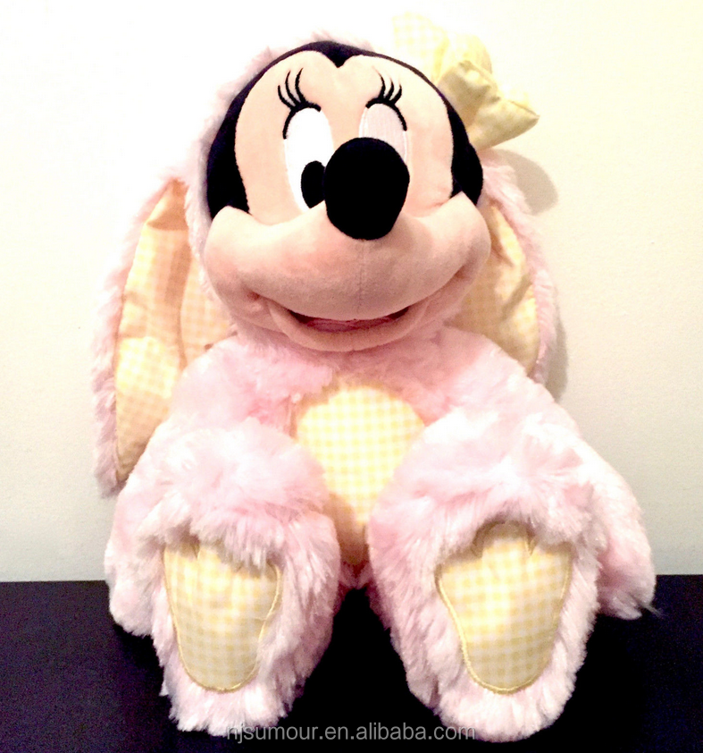 "PINK EASTER BUNNY MINNIE MOUSE 12.5"" PLUSH AUTHENTIC USA NWT TOY NEW"