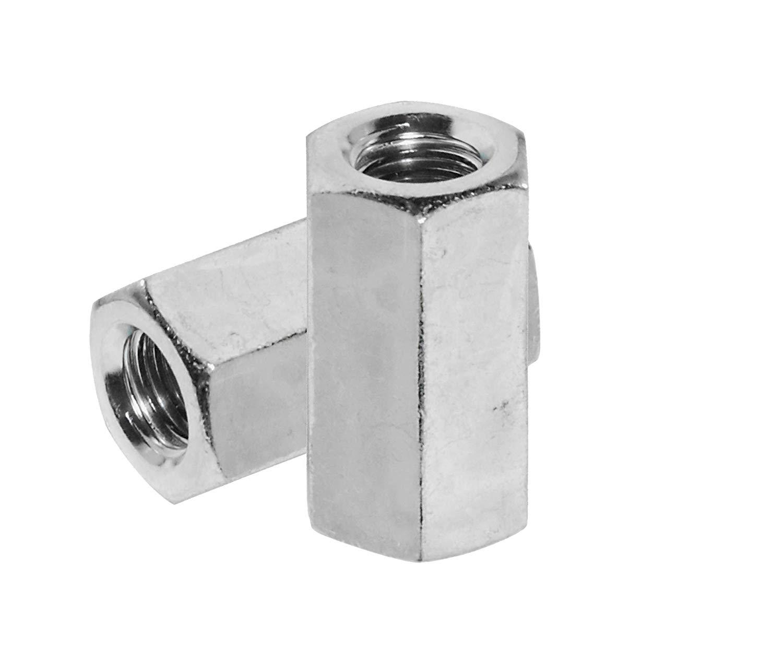 5//16-18 x W7//16 x L7//8 Coarse Thread A563 Grade A Hex Rod Coupling Nut Low Carbon Steel Zinc Plated Pk 100