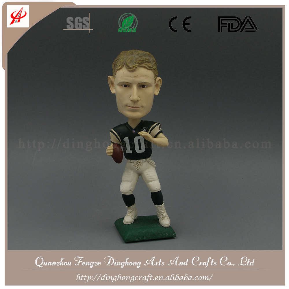 Resina Giocatore di Rugby Teste Bobble Best Selling Bobble Head
