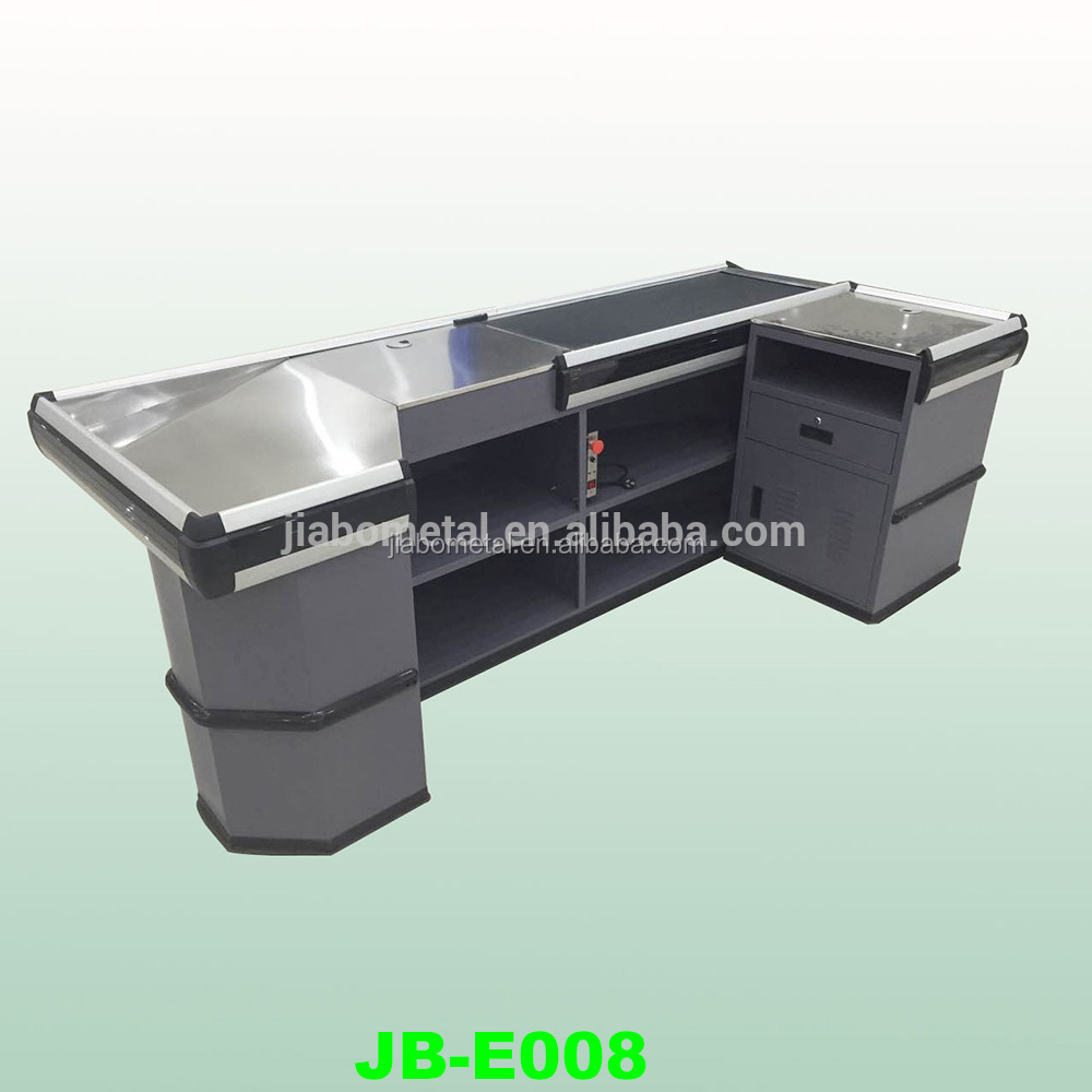 supermarket checkout counter with conveyor belt / High quality checkout counter