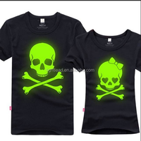 full cotton with luminescent pigment t shirt suitable which can coston made