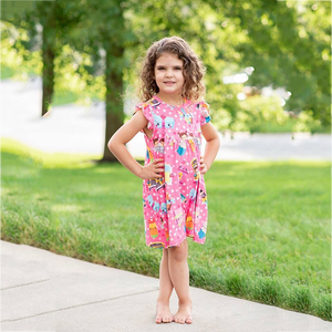 New print unicorn baby girl dress latest frock designs 3-5 year old flower girl dress