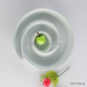 "9"" inches white round porcelain spiral olive tray wholesale tapas dish promotional oem custom high quality glaze olive plate"