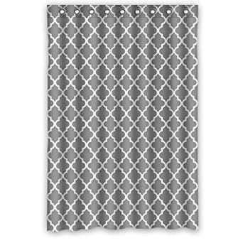 "Personalized classic grey and white Quatrefoil Bathroom Waterproof Polyester Fabric Shower Curtain 48"" x 72"""