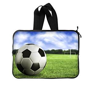 """Football Soccer Ball Notebook Computer Bag Case Cover 14"""" Inch (Twin Sides) /Water Resistant Neoprene Laptop / MacBook Air / Macbook Pro / Netbooks Sleeve"""