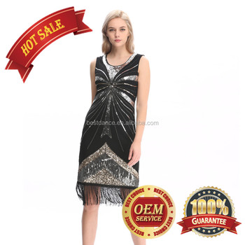 1b854023c97c BestDance Ladies Black 1920s Flapper Costume Sequin Bead Pearls Fancy  Cocktail Dress
