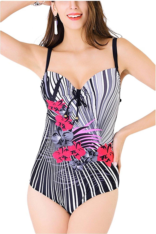 20b13ba699 Get Quotations · BucaDala Womens Plus Size Halter Bandeau Underwire High  Waist Bikini One Pieces Swimsuits