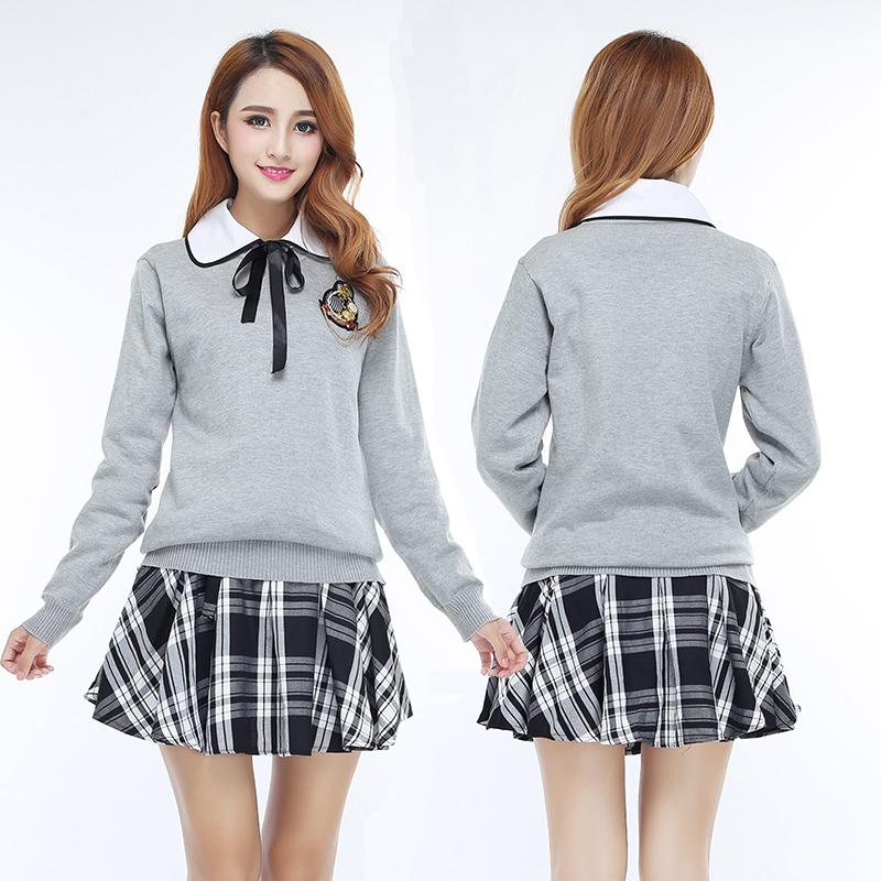 suéter de las muchachas uniforme al por mayor de alta