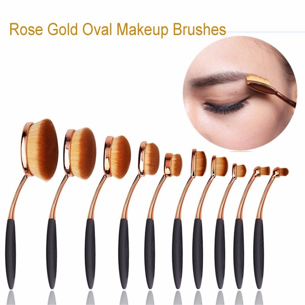 Amazon Hot Selling 10 Pcs Soft Oval Makeup Brush, Professional Cosmetic Makeup Brush Set for Wholesale