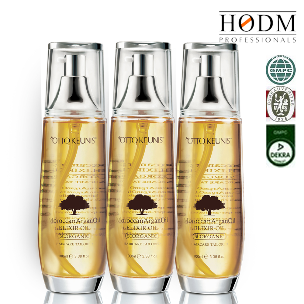 100% Anti-frizz Organic hair treatment oil heat protectant,private label argan oil production