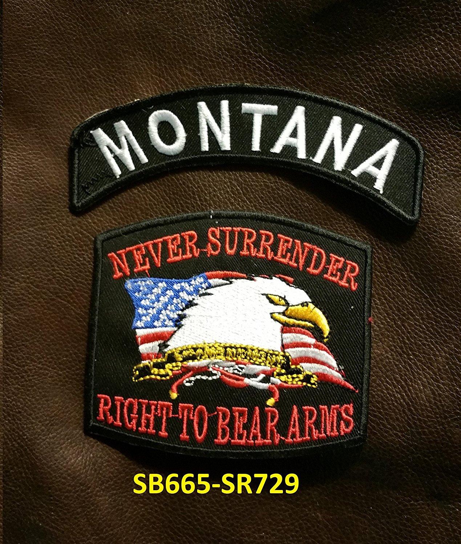 MONTANA and NEVER SURRENDER Small Badges Set for Biker Vest