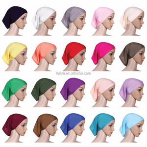 Cheap muslim hijab cylinder cap high quality women pure color inner scarf/underscarf