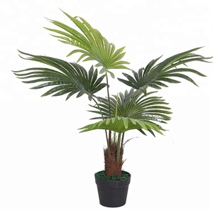 Indoor home decorative artificial palm trees wooden trunk