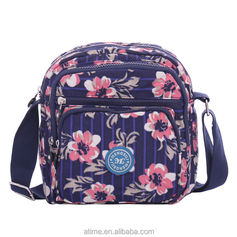 Wholesale online flower printed small nylon <strong>shoulder</strong> messenger bags for women