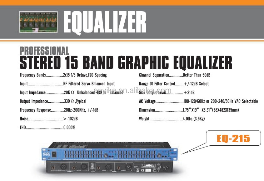 Eq-215 - Professional Sound System Equalizer / Stereo 15 Band Graphic  Equalizer - Buy Equalizer,Professional Equalizer,Graphic Equalizer Product  on