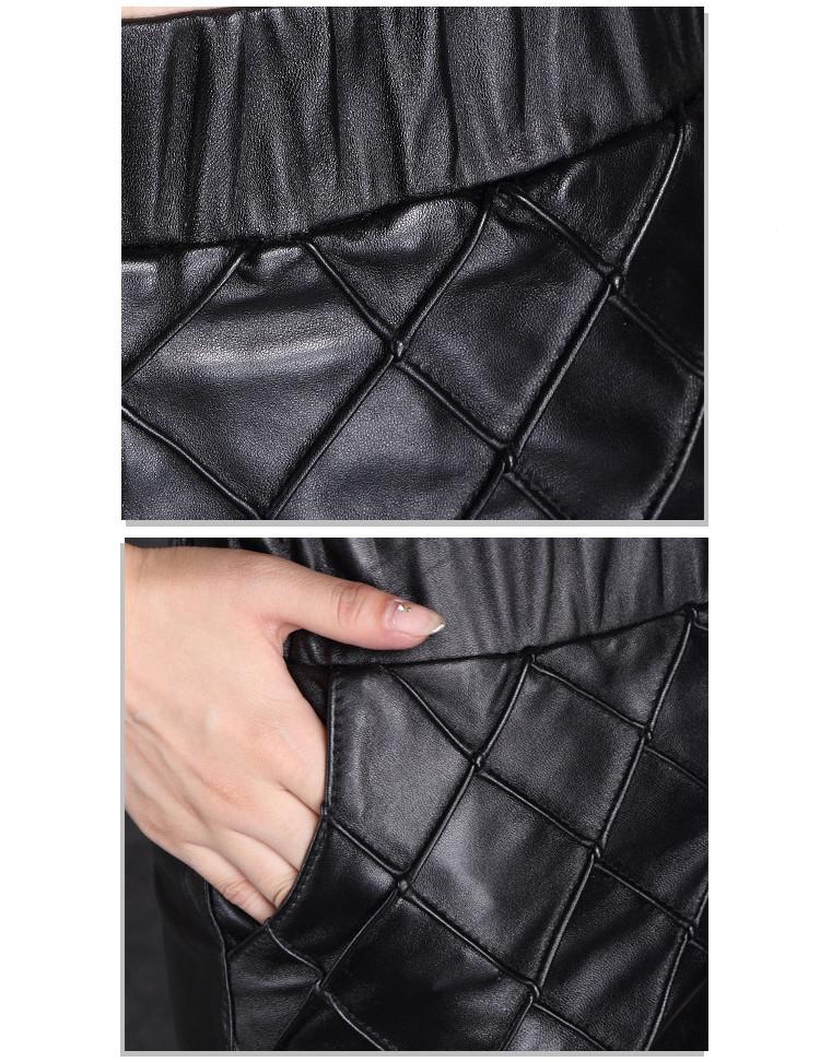 AKleatherware Quilting Ladies Leather Shorts Made in China High Quality Pants