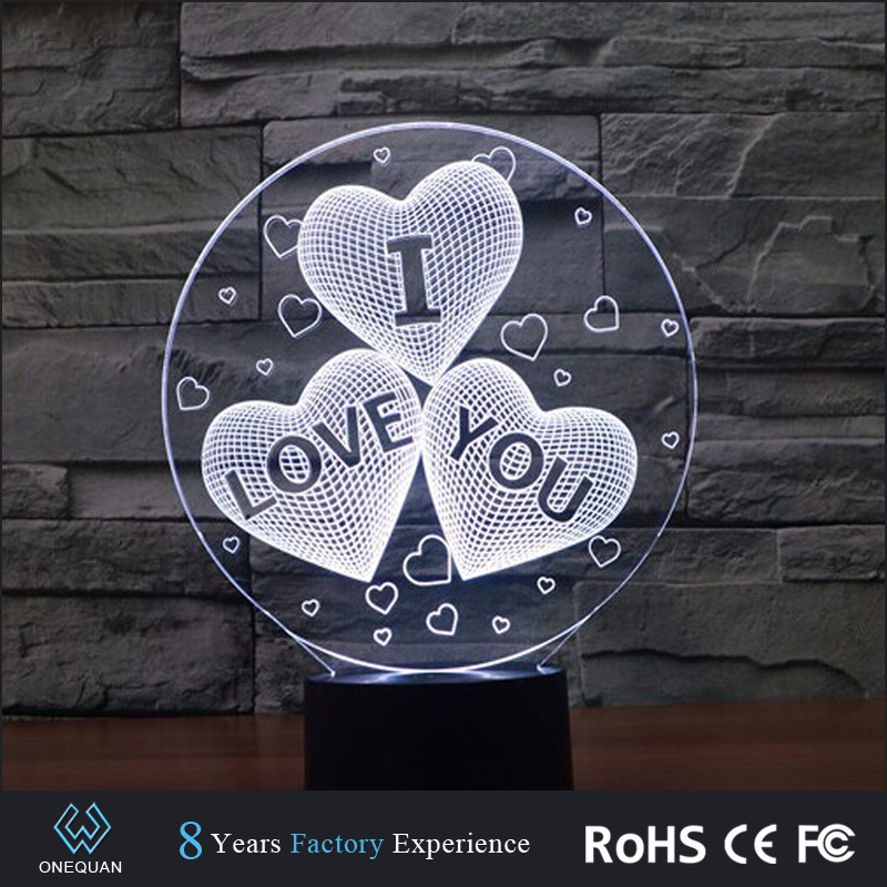 Amazing 7 Color Change heart Illusion Bedroom USB Night Light 3d LED Desk Table Lamp