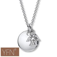 Engravable Disc and Angel Heart-warming Necklace Custom Name Necklace