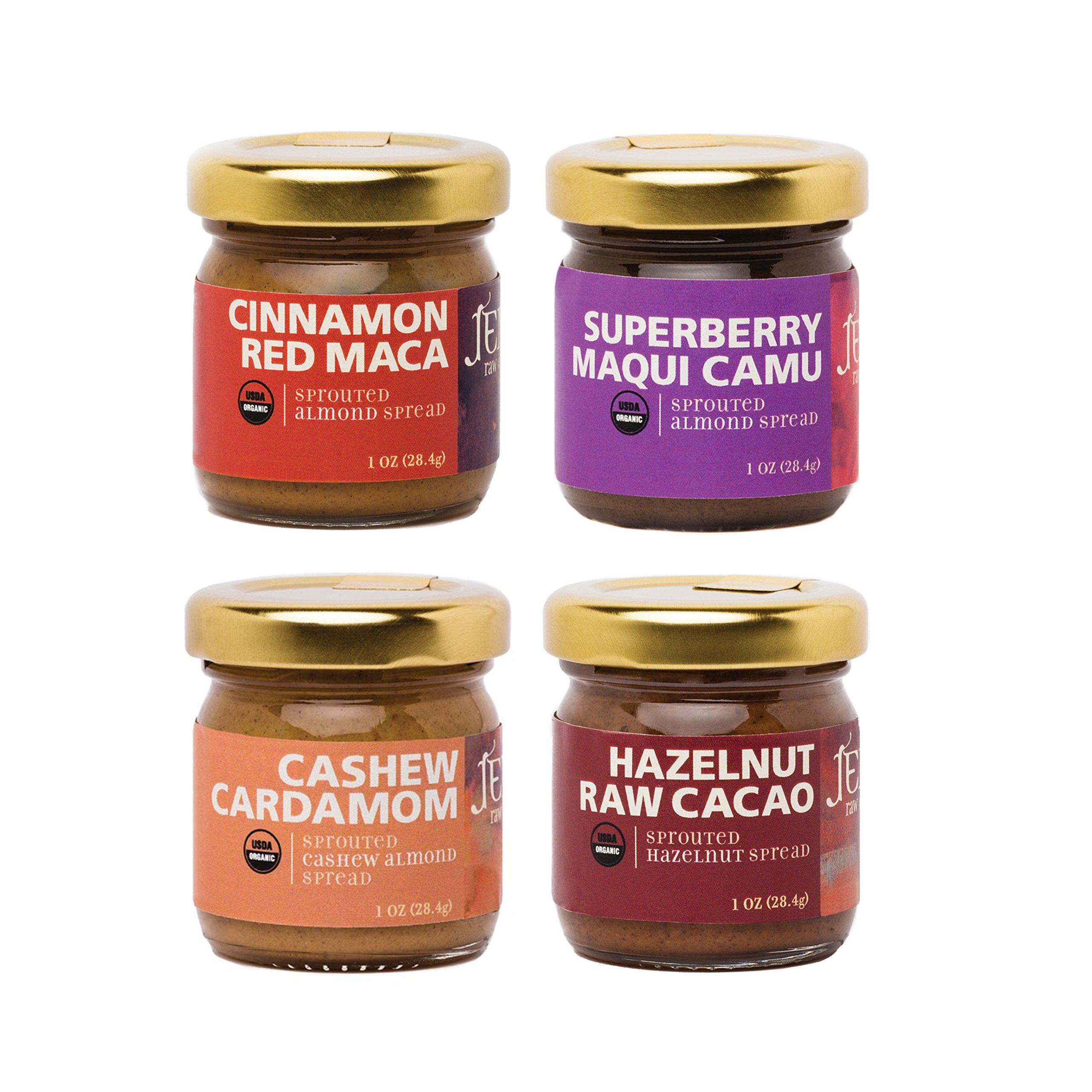 "Jem Raw, Vegan, Organic Specialty Nut Butter Spread ""Flight of JEM Raw"" Sampler Pack, 4 (1.25 oz) jars, flavors include Cashew Cardamom, Superberry Maqui Camu, Chocolate Hazelnut and Cinnamon Red Maca"