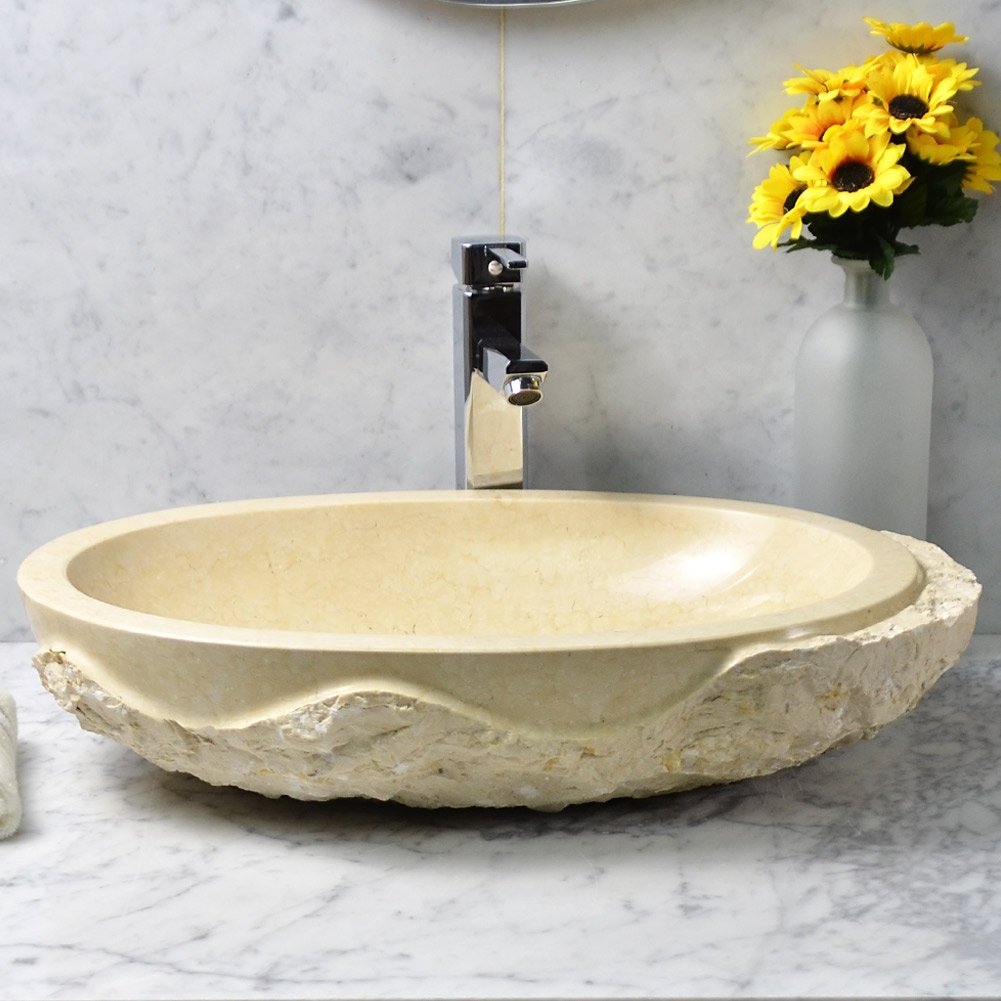 Stone Vessel Oval Beige Marble Bathroom Sink 100% Natural Stone, Hand Carved (Galala Marble)