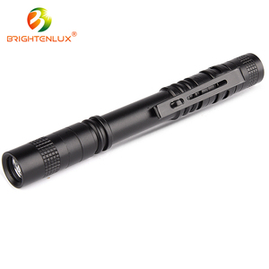 Factory Directly 2*AA Battery High Power Mini Led Pen Light With Clip Aluminum Torch