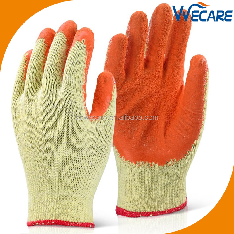 10G Latex Palm String Knited Gloves With Crinkle Finish Coating Builder Gloves