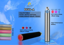 Usb charger LED switch button 1100mah ego vaporizer pen