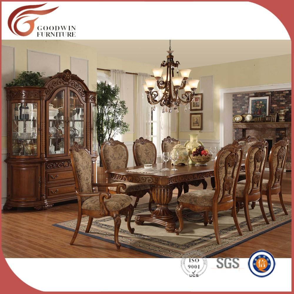 Madera tradicional tallado juego de comedor wa162 sets for Muebles de sala tallados en madera