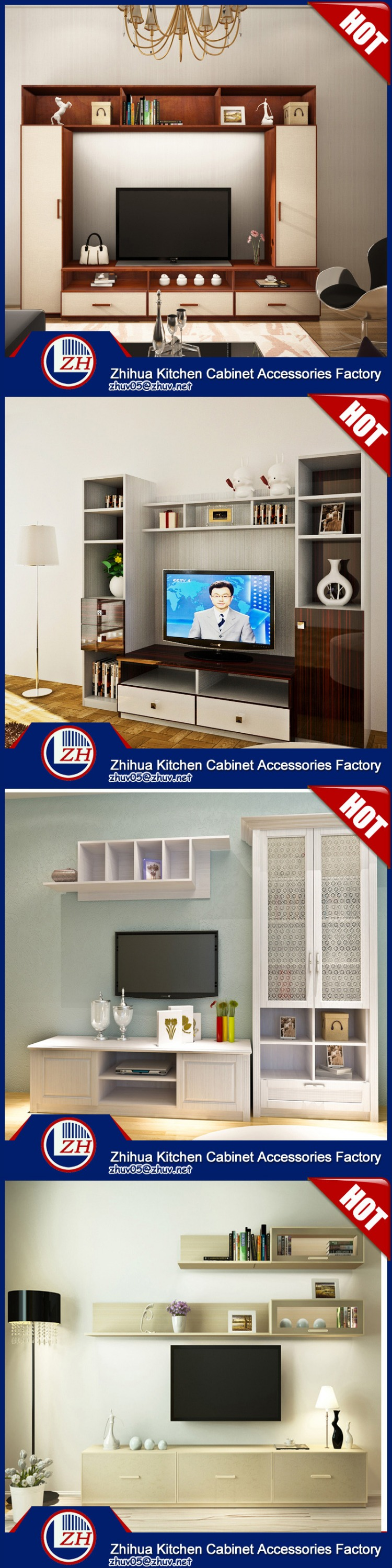 Guangzhou zhihua kitchen cabinet accessories factory - Modern Living Room Tv Cabinet Tv Lcd Wooden Cabinet Designs