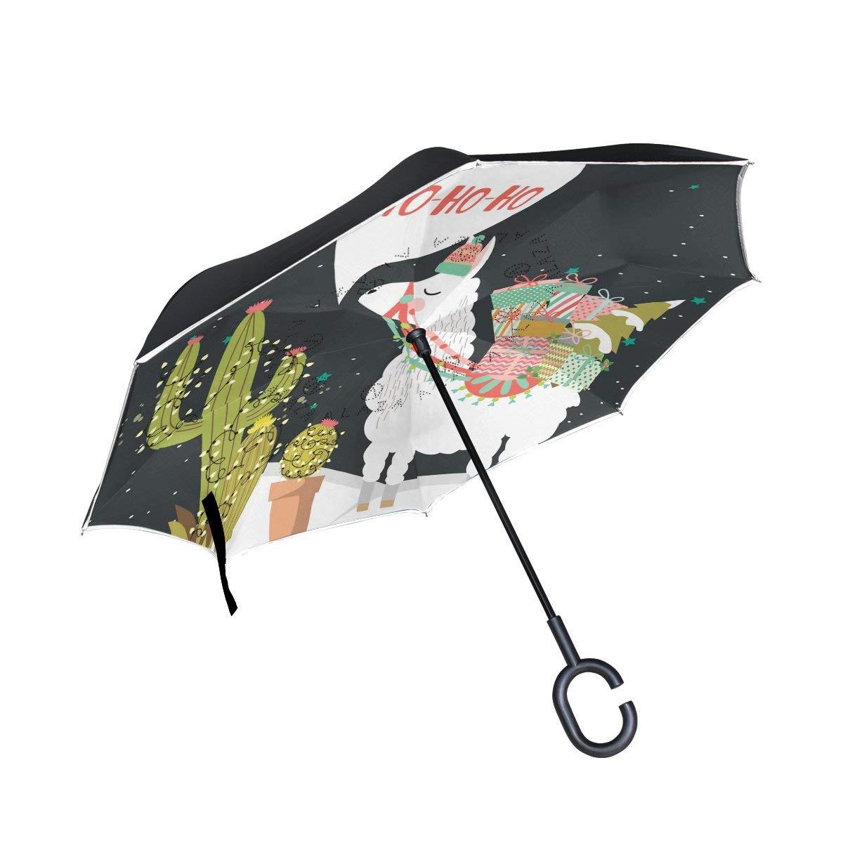 Llama Cartoon Alpaca Double Layer Windproof UV Protection Reverse Umbrella With C-Shaped Handle Upside-Down Inverted Umbrella For Car Rain Outdoor