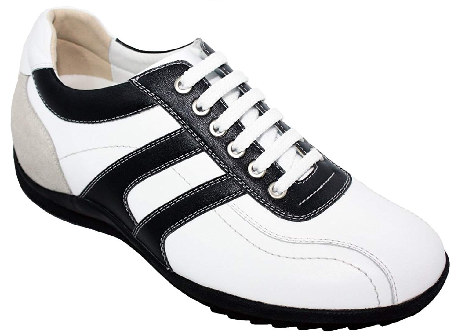 Toto TOTO-A66362-2.8 Inches Taller-Height Increasing Elevator Shoes (White Leather Lace-up Sneakers)