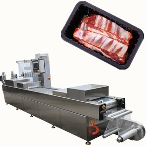 CE standard MAP rigid vacuum thermoforming packing machine for fresh chicken meat in plastic box