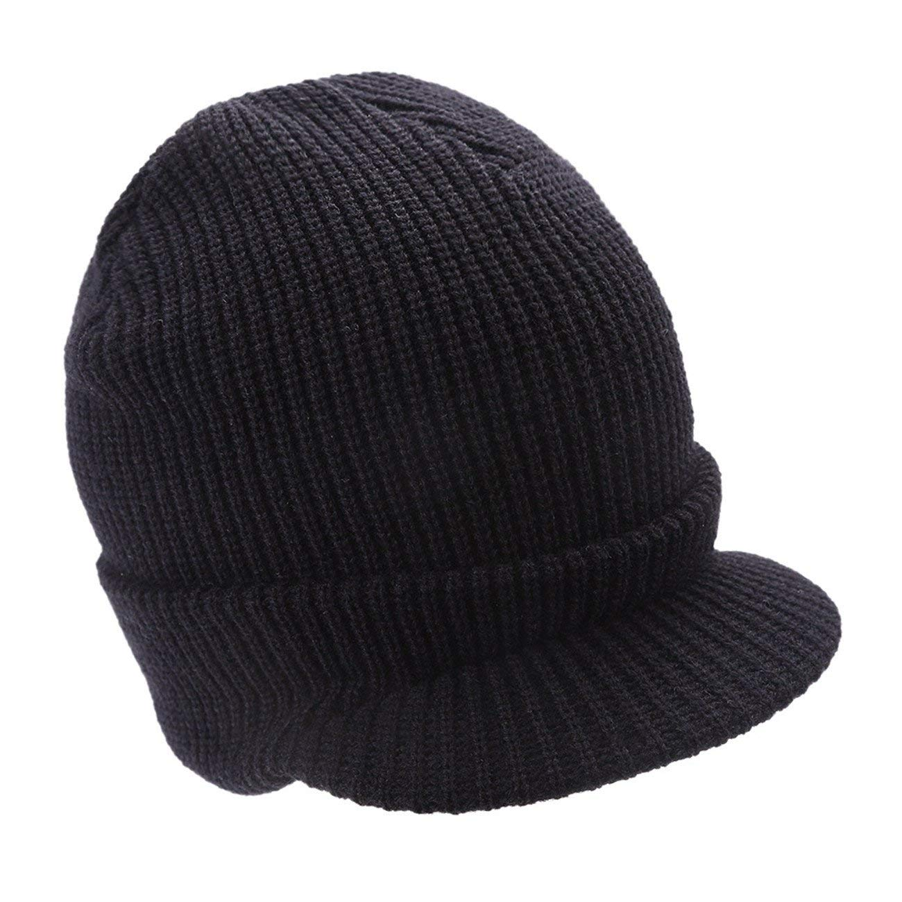 803909b8fc05b Leories Winter Knitted Hat Windproof Cap Outdoor Warm Earflap Hat with Visor