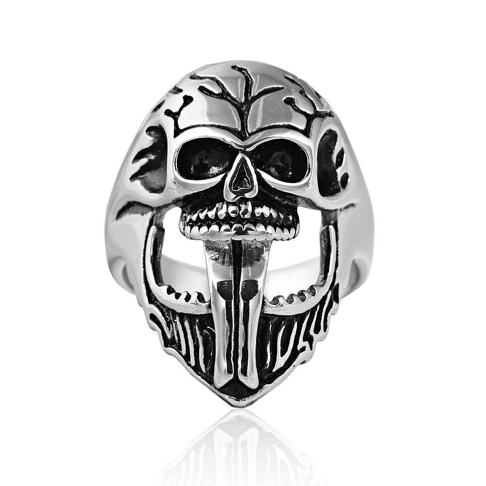 Wholesale silver Plated Stainless Steel big Rings For Men Skull Rock Rings Jewelry