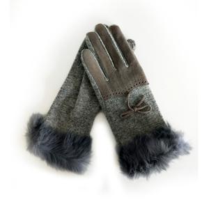 Warm Rex Rabbit Fur cuff fashion bowknot women gloves winter