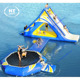 New Inflatable Water Trampoline Combo With Launch And Slide For Sale