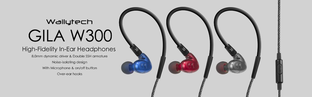 Wallytech GILA W300 High-Fidelity In-Ear Headphones with microphone and on/off button