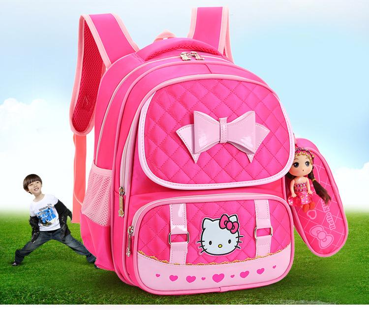 8851f3d5d820 Hello Kitty School Backpacks For Children Nylon Girls Princess ...