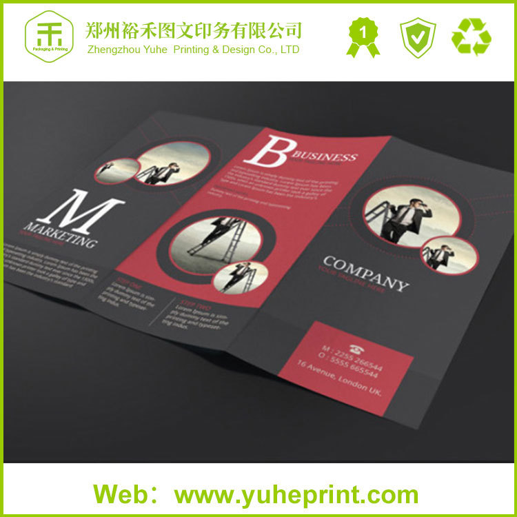 high quality advertising tri folder printing art paper sports