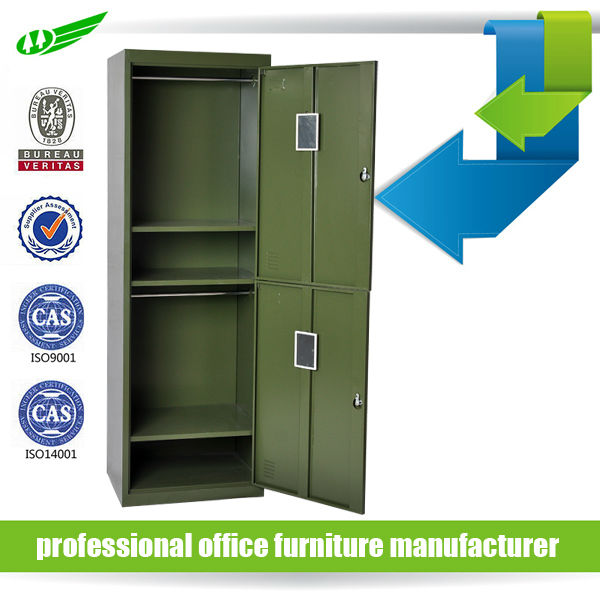 Green military storage high quality knock down 2 door metal locker