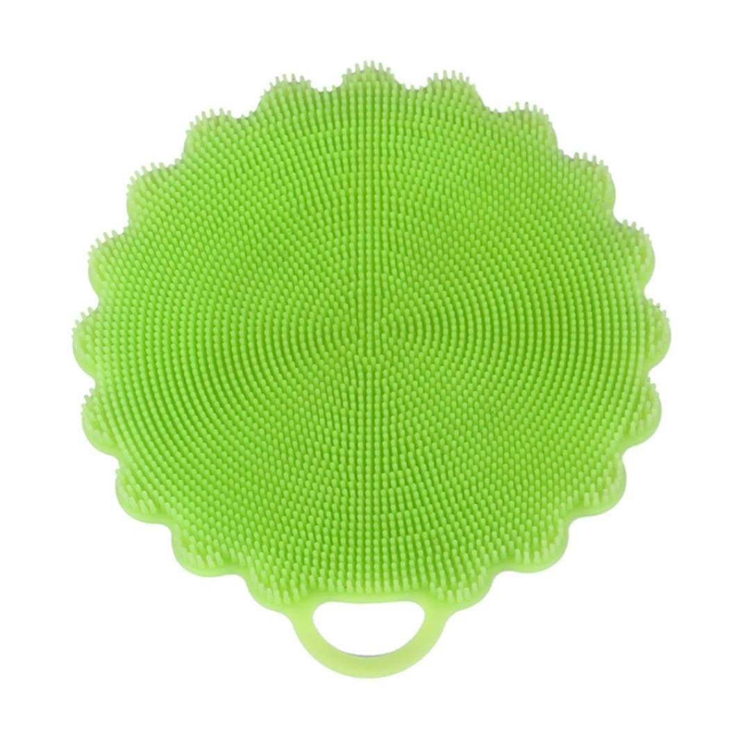 Washing Scrubber,Hunzed Silicone Dish Washing Sponge Scrubber for Washing Dishes Kitchen Cleaning antibacterial Tool (Green)